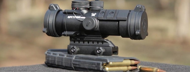 Vortex Spitfire 3x scope on a box of bullets