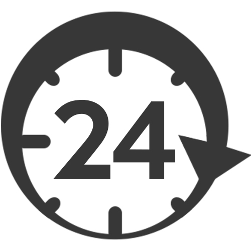 a clock icon with the number 24 appearing in the center