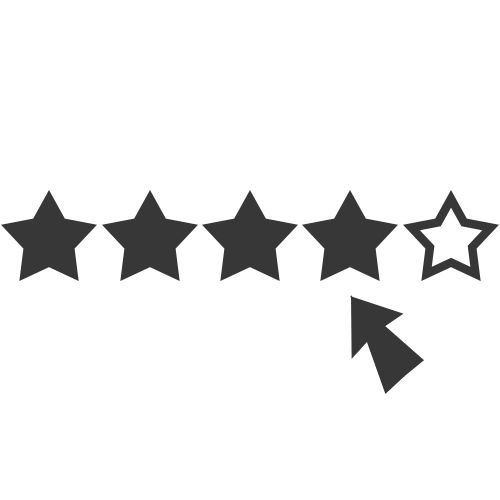 vector of star ratings and a mouse pointer near the fourth star