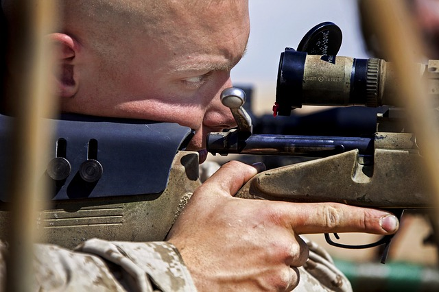 soldier aiming on his target